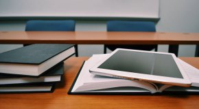 books and ipad in classroom